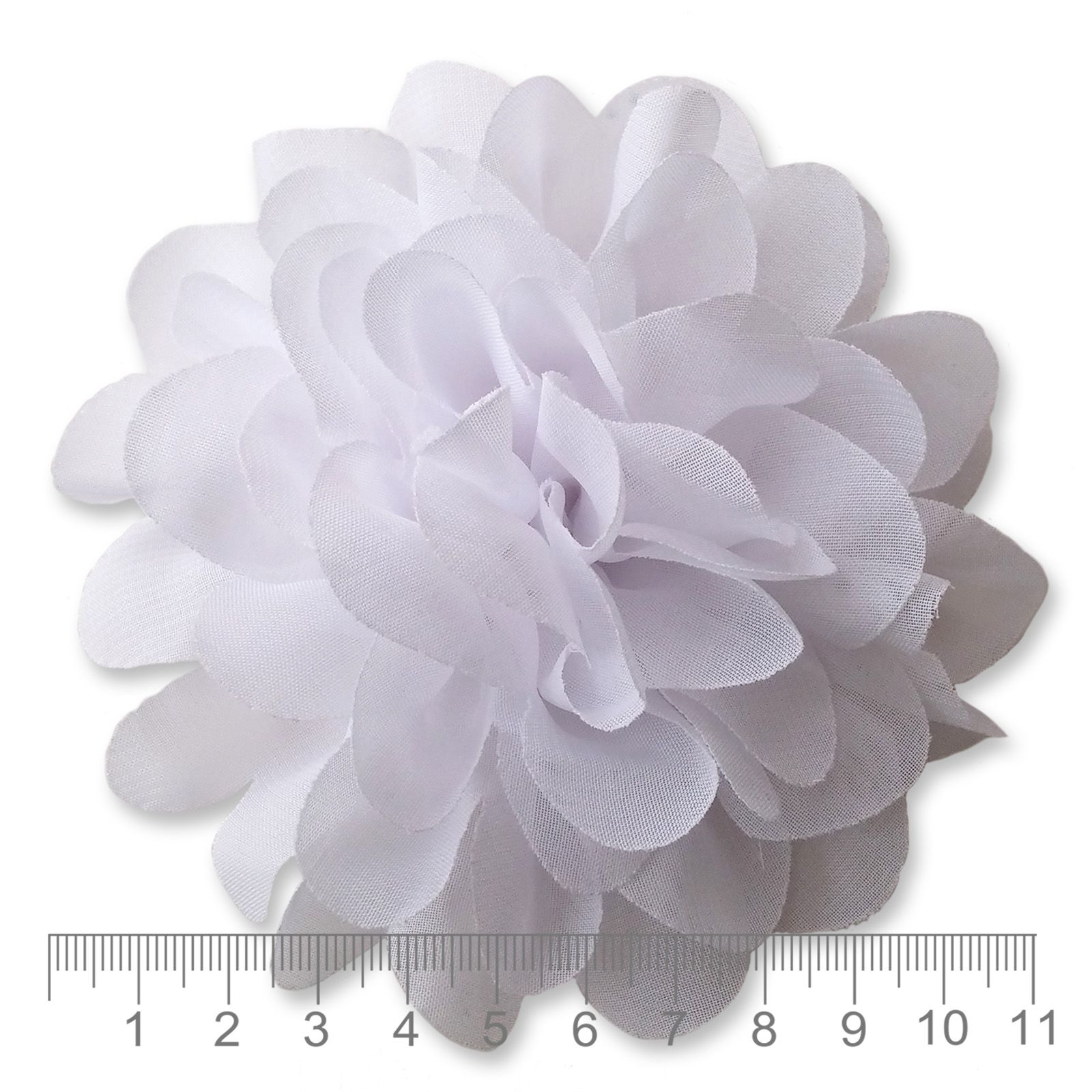10cm Pompom Bloom White Fabric Flower Applique